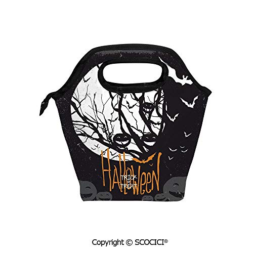 Insulation portable lunch box bag Halloween Themed Image with Full Moon and Jack o Lanterns on a Tree Decorative Soft Fabric lunch bag Mummy bag.]()