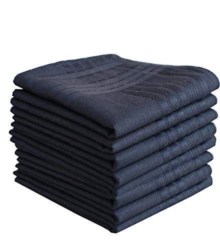 LACS Men's Solid Black Luxury Soft Cotton Handkerchiefs Pack