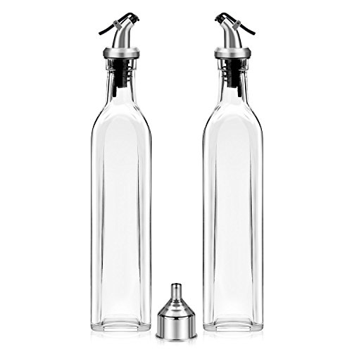 Olive Oil Dispenser - 2 Pack Oil and Vinegar Dispenser ( 17OZ ) Salad Dressing Cruet Glass Bottle Olive Oil Bottles Dispenser Glass Oil Bottle Coconut Oil bottle with 1 Stainless Steel Funnel