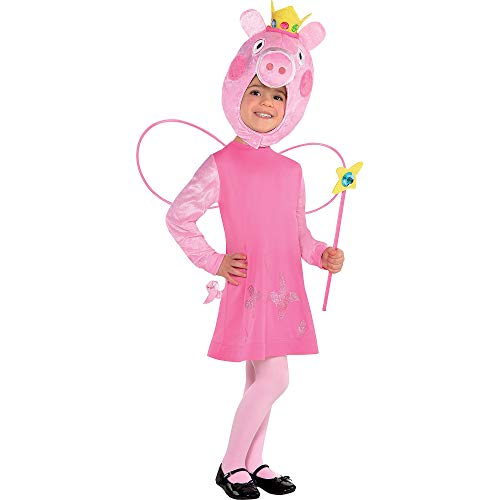 Suit Yourself Peppa Pig Halloween Costume for Girls, 3-4T, Includes Dress, Hood, Wings, and Wand -