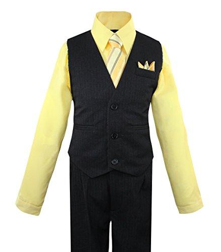 Luca Gabriel Toddler Boys' 4 Piece Pinstripe Vest Shirt Tie Pant and Hanky Set Banana - 8 (Suit Pinstripe Shirt)
