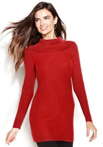 Alfani Women's Petite Cowl Neck Metallic Sweater, New Red Amore, - Sweater Red Alfani