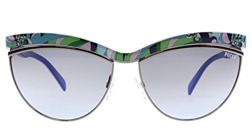 Valentino Gray Lens - Emilio Pucci Women's Sunglasses EP0010 89W Turquoise/Blue Lens 61mm Authentic