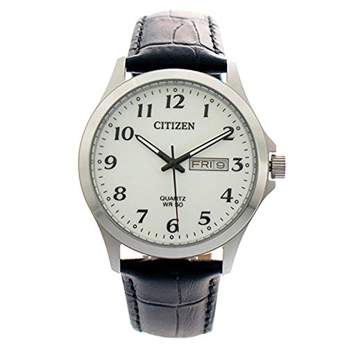 Citizen Standard, Stainless Steel Case, White Dial with Date Display and Leather Strap, Analog Quartz Men's Watch, ()