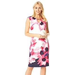 Roman Originals Women Floral Print Fitted Scuba Dress – Ladies Going Out Evening Cocktail Party Special Occasion Summer Holiday Wedding Guest Race Day Knee Length