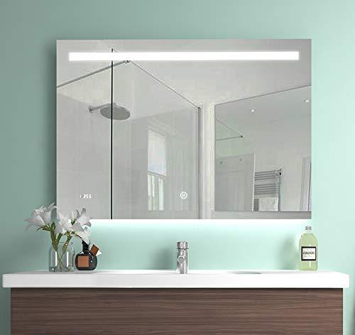 Meykoe 100x70x4,5cm LED Beleuchtung Badspiegel, Anti-beschlag Badezimmerspiegel Wandspiegel mit Touch-Schalter, Digitaluhr und Anti-beschlag