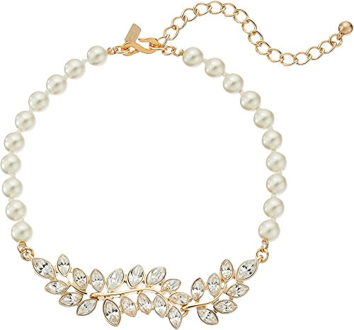 Kenneth Jay Lane Women's Pearl with Gold and Crystal Leaf Motif Choker Necklace Pearl One Size
