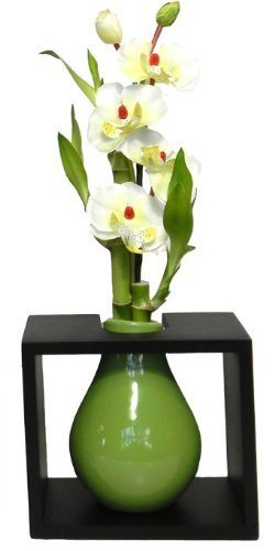 (Jmbamboo- 3 Stems of Lucky Bamboo in Framed Green Paint Drop Vase w/Silk Orchid)