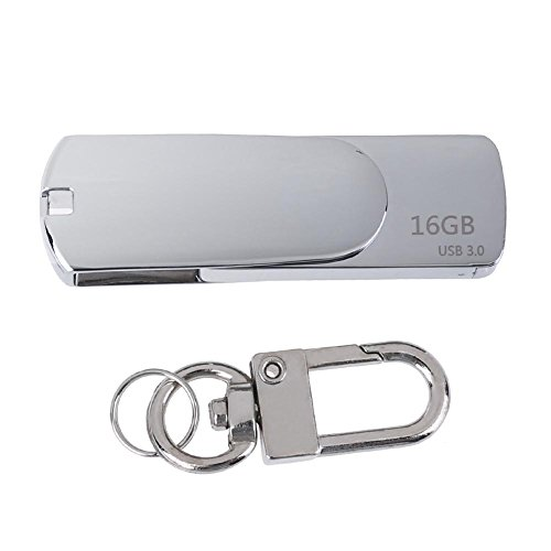 MKChung Mini USB3.0 U Disk, Creative Keychain Metal Shell High Speed U Disk 16/32/64G(Bright Silver/16G) from MKChung