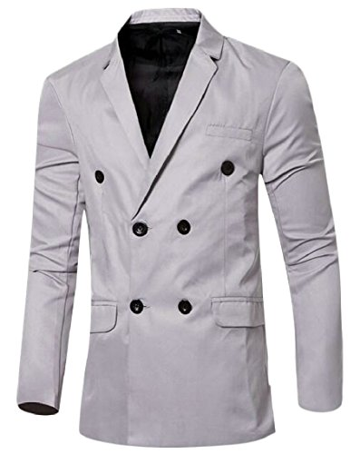 Blazer Slim Color Basic Candy Suit Breasted Grey Jacket Double Mens security gP0Yaa