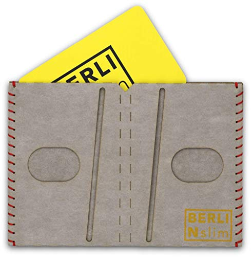 Billetera, Carteras para hombre, billetera-tarjetero – papel, delgado, minimalista, vegano, moderno – color gris – hecho por BERLIN slim