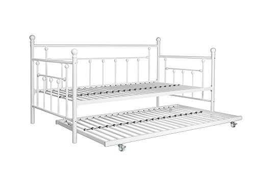 DHP Manila Daybed Metal Frame with Trundle, Twin Size - White (Trundle Twin Frame Bed)