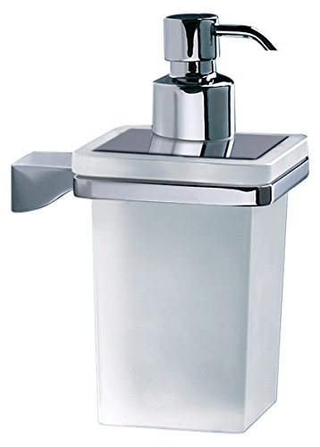 - Gedy 5781-13 Glamour Wall Mounted Square Frosted Glass Soap Dispenser With Mounting, Chrome