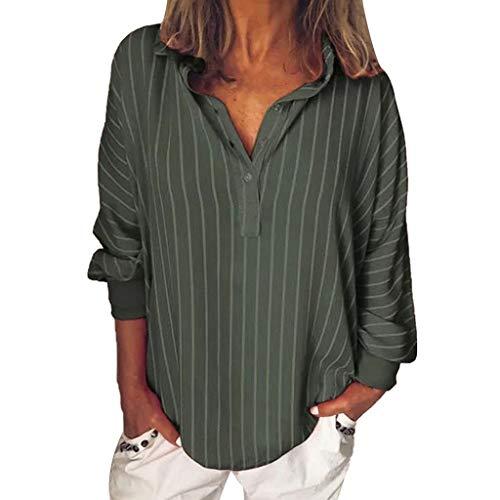 - Women Striped Button Lapel Long Sleeve Shirt Loose Casual Top Blouse