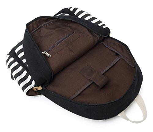 School Backpack for Girls, Gazigo Womens High School College Bookbags Laptop Bag (Black) by Gazigo (Image #5)