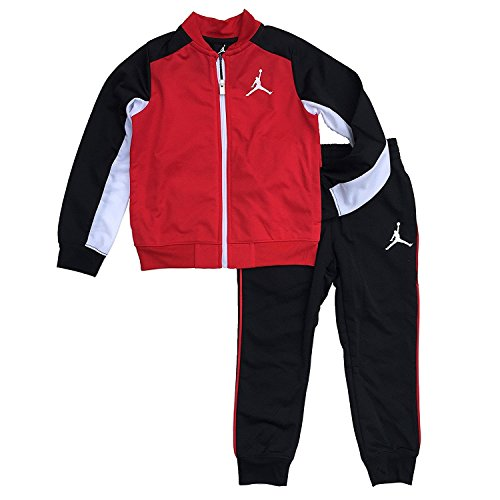 Jordan Nike Air Little Boys Tricot Tracksuit Jacket & Pants Set (Red/Black, 4)