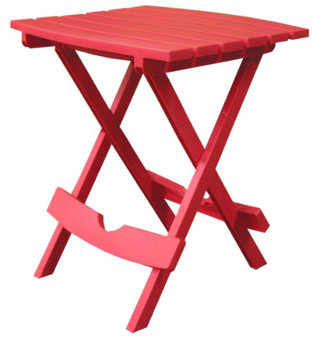 Table Outdoor Stacking - Adams Manufacturing 8500-26-3700 Plastic Quik-Fold Side Table, Cherry Red