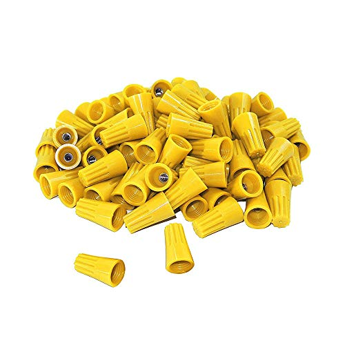 (50Pcs Twist on Wire connectors - Yellow #14 - #16 AWG Wire nut Bulk with Spring Inserted, Easy Screw on Electrical caps)