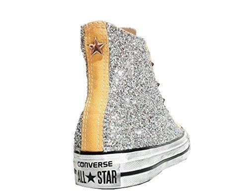 Converse all star glitter Borchie borchiate solar orange giallo vintage ( prodotto artigianale )