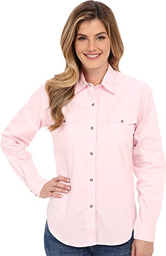 Roper Women's L/S Solid Basic Snap Front Pink Medium