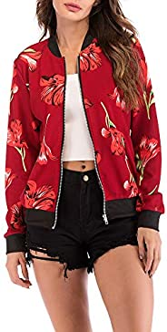 SERYU Zipper V-Neckline Jacket Women's Floral Print Blouse Fashion Baseball