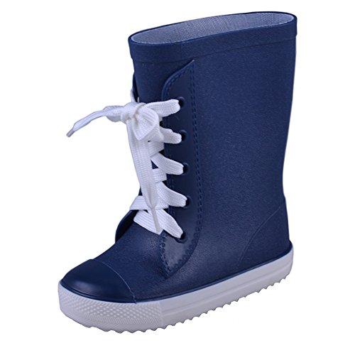 VICVIK Children Rain Boots Kids Lightweight Cute Waterproof Lace-up Raining Shoes(Toddler/Little Kid/Boy/Girl) (Toddler 9M, navy) (Cute Childrens Shoes)