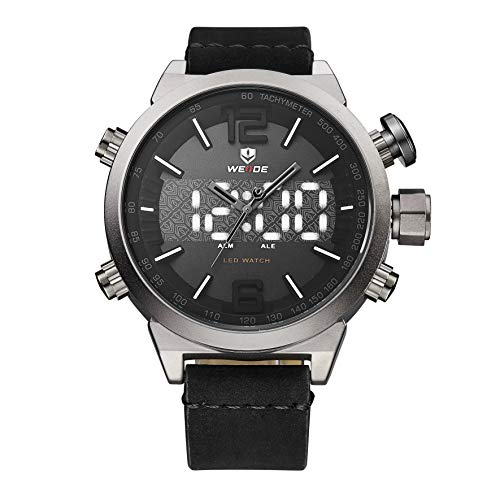WEIDE Quartz Watch for Men Analog LED Dual Time Display Causual Sport Style Dress Wrist Watch Leather Band Buckle Hook