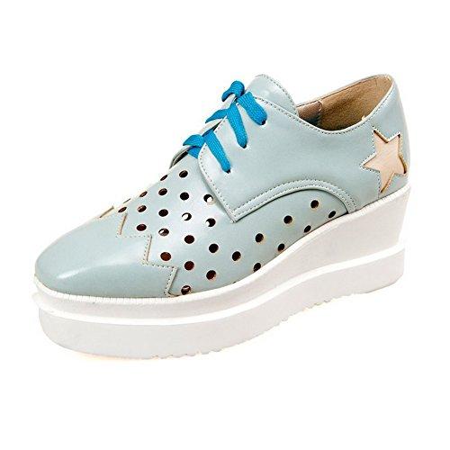 Allhqfashion Dames Pu Kitten-hakken Vierkant Gesloten Teen Geassorteerd Kleur Veterschoenen Pumps-schoenen, Groen, 34