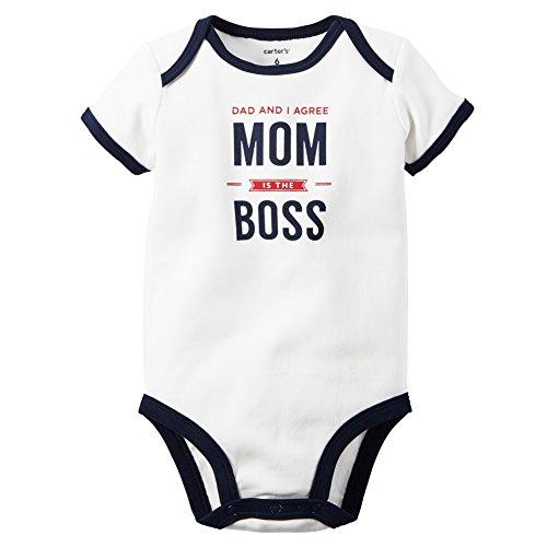 Carters Baby Boys Mom's The Boss Bodysuit White 6M