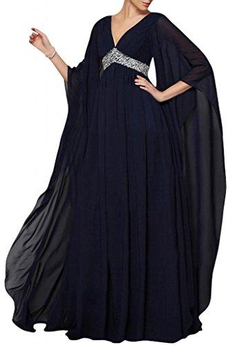 Elegante V-cuello de la Toscana novia largo Mangas Gasa madre de la novia por la noche vestidos de bola vestidos de fiesta de largo Dunkel Navy