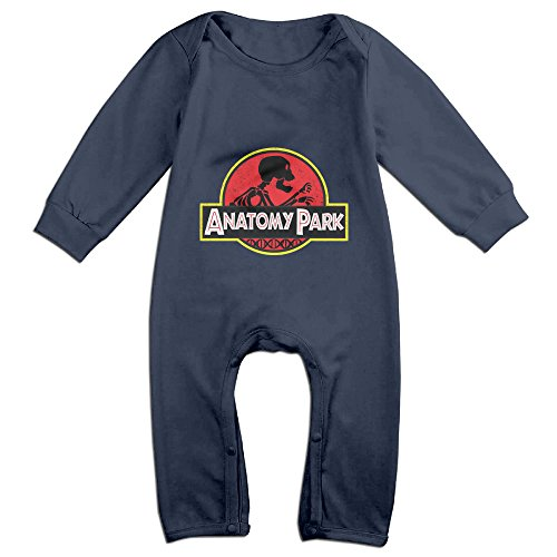 NCACA Newborn Babys Boy's & Girl's Rick Morty Anatomy Park Long Sleeve Jumpsuit Outfits For 6-24 Months Navy Size 18 Months