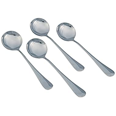 Seikei Soup Spoons - Large Round - 7.25 Inch - 4 Piece Set - Stainless Steel
