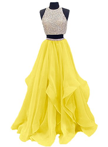 Dressytailor Two Piece Floor Length Organza Prom Dress Beaded Evening Gown Yellow
