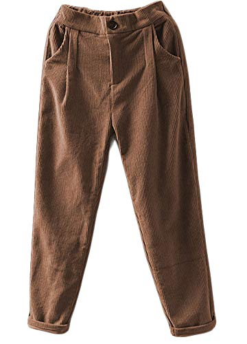 Minibee Women's Cropped Corduroy Pants Elastic Waist Retro Trouser with Pockets