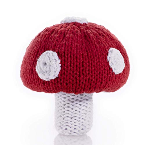 (Pebble | Handmade Mushroom Baby Rattle | Toadstool | Vegetable | Knitted Baby Toy | Fair Trade | Play Food | Machine)