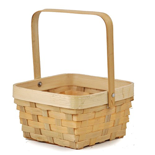 Small Bamboo Square Handle Basket (Easter Wicker Baskets)