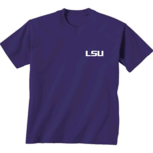 NCAA LSU Tigers Adult Initial Pattern Short sleeve, Large, Cc Purple