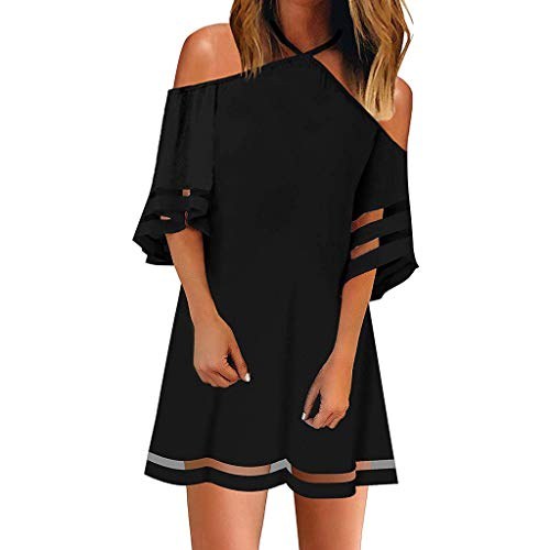 (Shirt Dress, Caopixx Women's Cold Shoulder Mesh Panel 3/4 Bell Sleeve Loose Blouse Top Dresses Black)