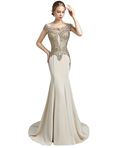 Clearbridal Women's Mermaid Evening Dress 2018 Appliques Formal Prom Gown (Gold Prom Gown)
