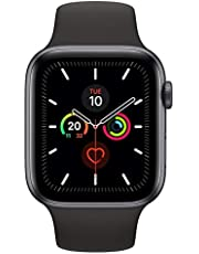 Apple Watch Series 5-44mm Space Grey Aluminium Case with Black Sport Band - S/M & M/L, GPS, watchOS 6, MWVF2AE/A