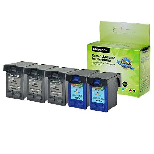 - GREENCYCLE High Yield Remanufactured Ink Cartridge Compatible for HP 56 57 C6656AN C6657AN Deskjet 450 450cbi 450ci 450wbt 5100 5145(3 Black,2 Color)