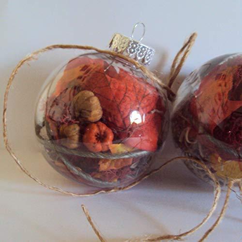 Autumn Leaves Ornament - Rustic Farmhouse Halloween Decor - Pumpkin & Fall Leaf Ball Decoration - Woodland Nature Bauble - 3