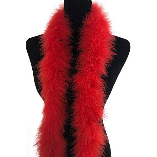 (Ws&Wt 2 Yards 30g Marabou Fluffy Feather Boa DIY Craft Trim Halloween Wedding Party Decoration - Red)