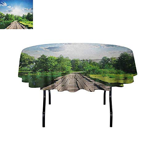 Douglas Hill Nature Printed Tablecloth Old Wooden Vintage Wooden Deck on Silent River in Sunny Day Rays Fresh Forest Photo Desktop Protection pad D40 Inch Blue Green