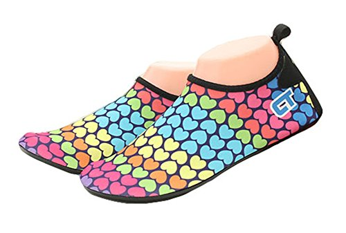 Fortuning's JDS Colorful Iridescence Loving heart Skin Shoes Snorkeling Fin Swimming Water Sport Socks A oTuAsBNI
