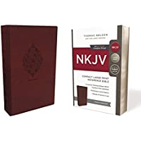 NKJV, Reference Bible, Compact Large Print, Leathersoft, Burgundy, Red Letter Edition, Comfort Print: Holy Bible, New King James Version