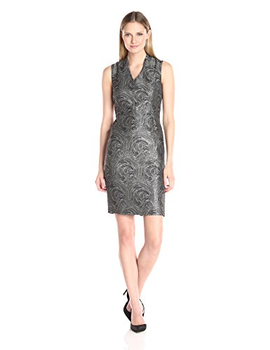 Kasper Women's Foil Print Swirl Jacquard Sheath Dress, Silver/Multi, 8