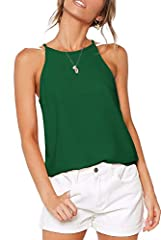 """LouKeith Womens Tops Halter Sleeveless Racerback Casual Summer Loose Cami Shirts Sexy Beach Tank Tops Size Bust: (S)-33.86inch (M)-35.83inch (L)-38.78inch (XL)-41.73inch Notice: Please allow 0.4""""- 0.8"""" differs due to manual measurement, thank..."""
