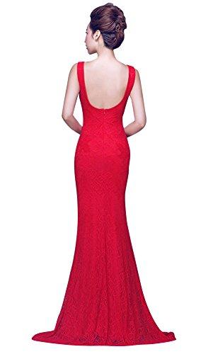 Ansatz Beauty seitliches Offenes Kleid Rückenfrei V Spitze Bodycon Emily Abend Rot O6aUAqw0