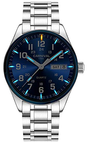 Swiss Brand Analog Quartz Watch Tritium Gas Luminous Silver Stainless Steel Military Watch for Men (Blue Light)